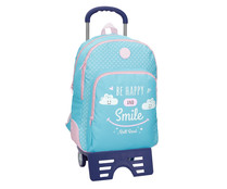 Mochila escolar Roll Road Happy Azul doble compartimento 44cm con carro, ROLL ROAD.