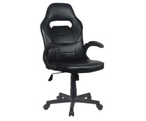 Silla gamer ajustable en altura con reposabrazos extendido, color negro, DECORACIÓN.