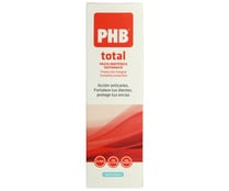 Pasta de dientes con flúor y acción anti-caries, anti--placa y protectora de encías PHB Total 75 ml.