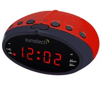 Radio reloj despertador SUNSTECH FRD16RD radio AM/FM, iluminación en rojo y control volumen digital.