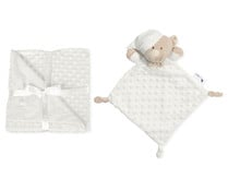 Set de manta burbuja + doudou, color blanco, INTERBABY.