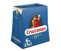 Cerveza sin alcohol (0,0% Vol.) CRUZCAMPO pack de 6 uds. de 25 cl.
