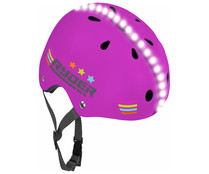 Casco infantil con luces led, color rosa fucsia, RYDER.