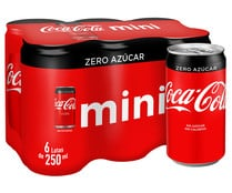 Refresco de cola zero sin azúcar COCA COLA pack 6 latas de 250 ml.