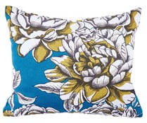 Cojín cuadrado color azul con estampado floral, 45x45 cm., so splendid ACTUEL.