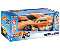 Coche radiocontrol con luces y sonidos Muscle King, HOT WHEELS.