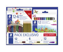 Esenciales Vuela al Cole STAEDTLER pack con 6  Lápices de grafito NORIS® HB, 12 lápices de color NORIS® COLOUR y 12 rotuladores de color 325.STAEDTLER.