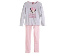 Pijama largo de niña DISNEY Minnie Mouse, color coral, talla 8.