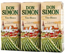Vino blanco DON SIMON brik de 200 ml. pack de 3 uds