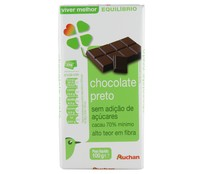 Chocolate negro 70% cacao, sin azucares añadidos AUCHAN 100 gr,.