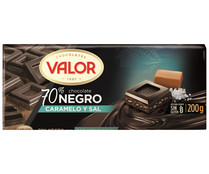 Chocolate negro 70% , caramelo y sal VALOR 200 gr.