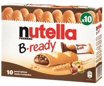 Galleta crujiente rellena de chocolate y avellanas NUTELLA B-ready 10 uds. 220 grs