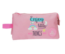 Estuche tres compartimentos Roll Road Little Things, color rosa, ROLL ROAD.