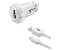Cargador de coche y cable Usb a Apple lightning CELLULAR LINE, 2,1A, potencia 10W, longitud 1M.