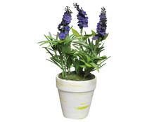 Maceta decorativa con planta de lavanda artificial color morado, 15 cm, ESSENCIAL.