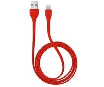 Cable plano Lighting a Usb TRUST FLAT rojo, longitud 1 metro, valido para iPad, iPhone y iPod.