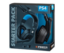 Starter Pack Indeca Gaming 2019 con auriculares, grips para joystick y cable de carga, INDECA. PS4