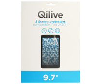 "Set de 2 protectores de pantalla QILIVE, compatibles con iPad, 9.7"". (tablet no incluido)"