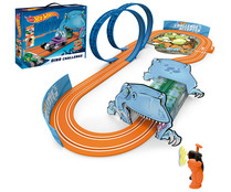 Circuito Dino Challenge con 2 loopings, 2 mandos inalámbricos y 2 coches HOT WHEELS.