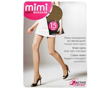 Panty 15 Den transparente MIMI Light Massage, color bronce, talla S.