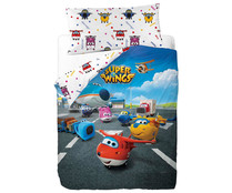 Funda nórdica 50% algodón con estampado infantil SuperWings, más funda para almohada, 90cm. SUPER WINGS.