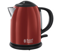 Hervidora de acero inoxidable RUSSELL HOBBS FLAME RED, capacidad 1L, interruptor ON/OFF, base 360°, potencia 2200W.