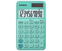 Calculadora de bolsillo de color azul celeste, CASIO.