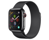 Smartwatch  APPLE Watch Series 4 MTVM2TY/A, GPS + Cellular., caja de acero inoxidable de 40mm., negro espacial con correa Milanese Loop negra espacial.