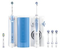 Cepillo dental eléctrico e irrigador bucal Braun ORAL-B PC 1000, incluye 2 cabezales y 4 boquillas Oxyjet.