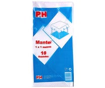Manteles desechables de papel color blanco, 100x100cm., 10 unidades, P&H.