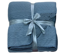 Plaid de punto relieve y reverso de borreguito, color azul, 125x150 cm., happy moments ACTUEL
