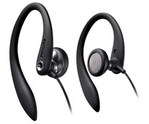 Auriculares tipo deportivos PHILIPS SHS3300WT con cable,  negro.