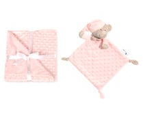 Set de manta burbuja + doudou, color rosa claro, INTERBABY.