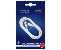 Cable prolongador coaxial de 1,5M para tv, color blanco, SEVENON.