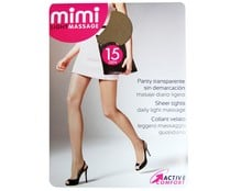 Panty 15 Den transparente MIMI Light Massage, color skin, talla L.