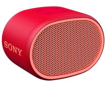 Mini altavoz SONY SRSXB01R por batería, conexión Jack 3.5mm, Bluetooth, micrófono integrado, color rojo.