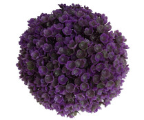 Bola de boj decorativo con flores artificiales hechas a base de plástico, color morado, 15 cm, ESSENCIAL