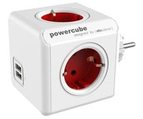 Multiplicador de enchufes con Usb ALLOCACOC Powercube Original rojo, 4 tomas enchufe, 2 x Usb.