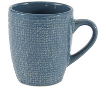 Taza mug de gres de color azul con decorado en relieve y capacidad de 34 cl, ACTUEL.