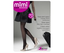 Panty 70 den masaje diario, semi opaco de compresión media MIMI Light massage, color negro, talla M.