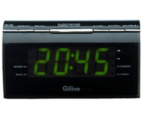 Radio reloj despertador QLIVEQ1411 radio AM/FM, doble alarma, regulador intensidad luz.