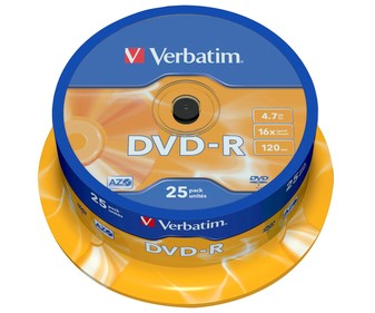 Pack tarrina DVD grabable 25 unidades