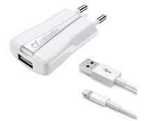 Cargador de red y cable Usb a Apple lightning CELLULAR LINE, 1A, potencia 5W, longitud 1M.