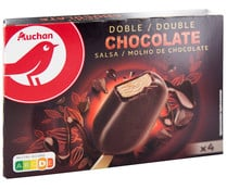Bombon helado de chocolate con salsa de chocolate, recubierto de chocolate PRODUCTO ALCAMPO Doble 4 x 100 ml.