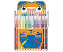 Súper pack de 18 rotuladores + 12 lápices de colores de intensos colores para uso escolar, BIC.