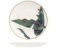 Plato llano de porcelana diseño de hojas Natural Jungle Chic, 27cm.  Exotic Leaf H&H.