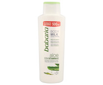 Body milk protector y reafirmante con vitamina E y aloe vera BABARIA 500 ml.