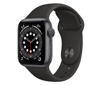 Apple Watch Series 6 M00H3TY/A, GPS, 44 mm, caja de aluminio gris espacial, correa deportiva negra.