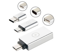 Pack adaptador USB OTG 3,0 a Micro USB + Micro USB a Tipo C + Tipo C a micro USB, MUVIT MUADP0020.