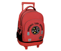 Mochila trolley compac Maui Cali de color rojo con 3 compartimentos, MAUI AND SONS.